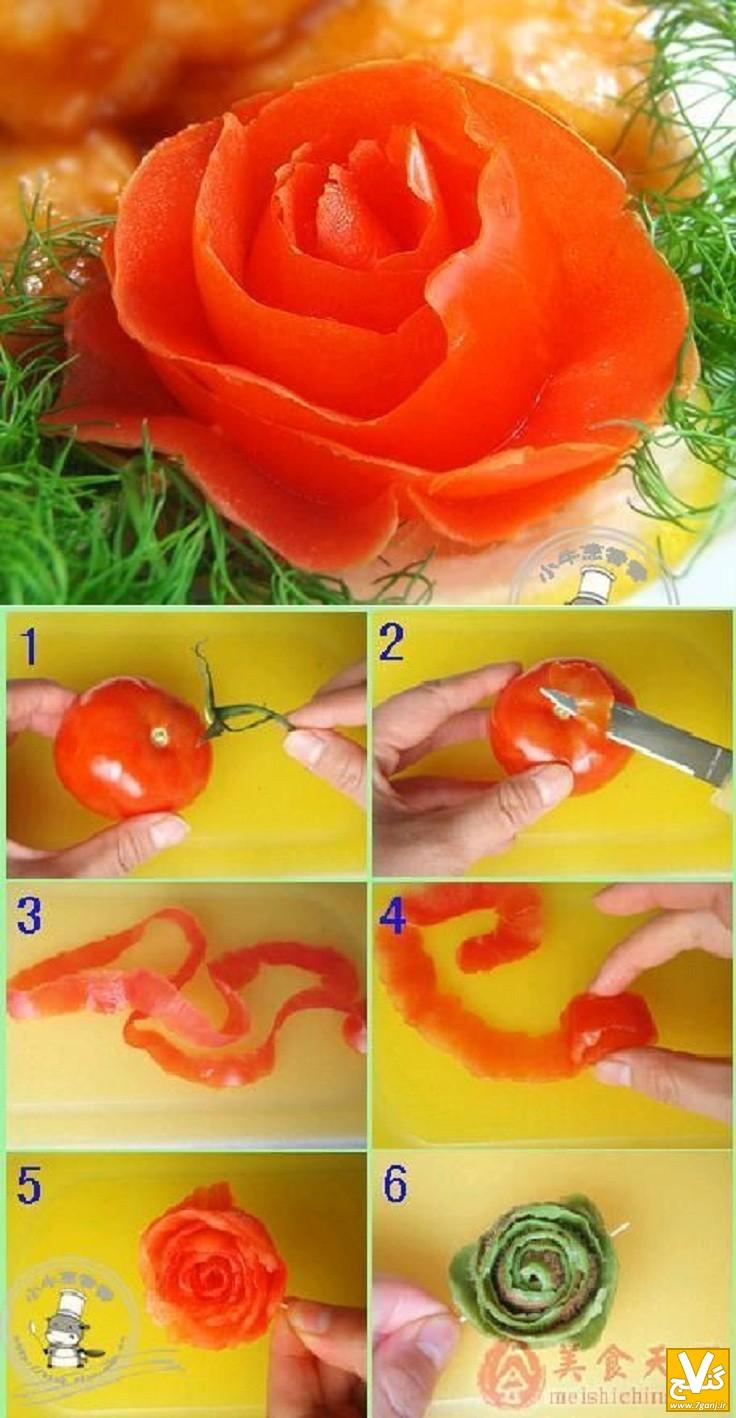 تهیه گل رز با گوجه فرنگی - 7ganj.ir