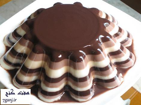 طرز تهیه ژله شکلاتی ۳ رنگ ، دسری خوشمزه و مجلسی