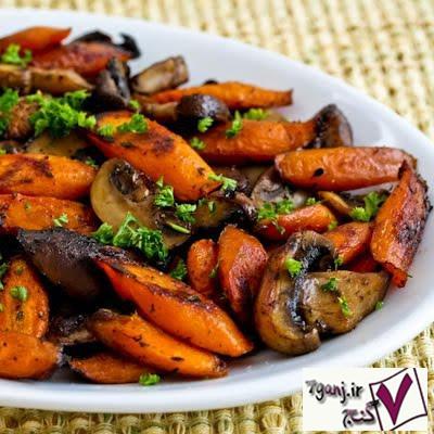 خوراک قارچ و هویج بخار پز