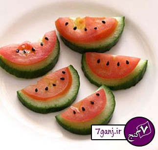تزیین گوجه و خیار برای سفره آرایی / سری ۶