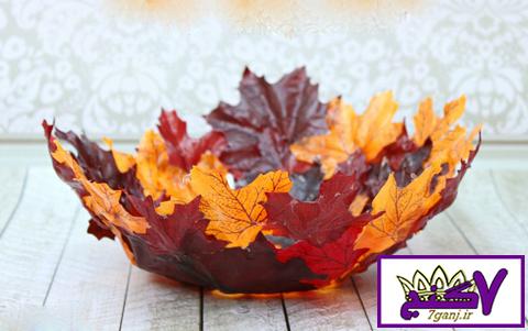 ساخت کاسه پاییزی زیبا با برگ های پاییزی