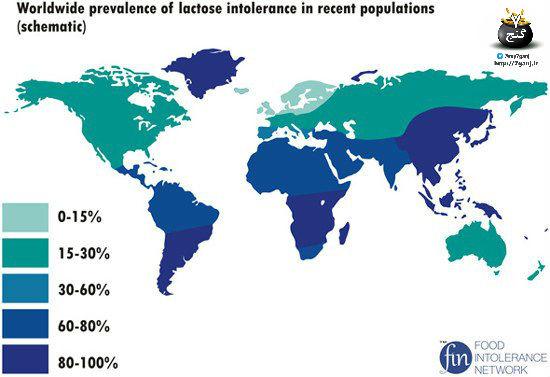 عدم تحمل لاکتوز در کشورهای دنیا