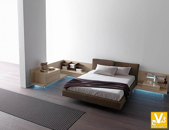 Comfortable-modern-brown-upholstered-queen-sized-bed-provided-in-floating-style-and-integrated-with-table-sides-and-drawer-on-minimalist-bedroom-ideas