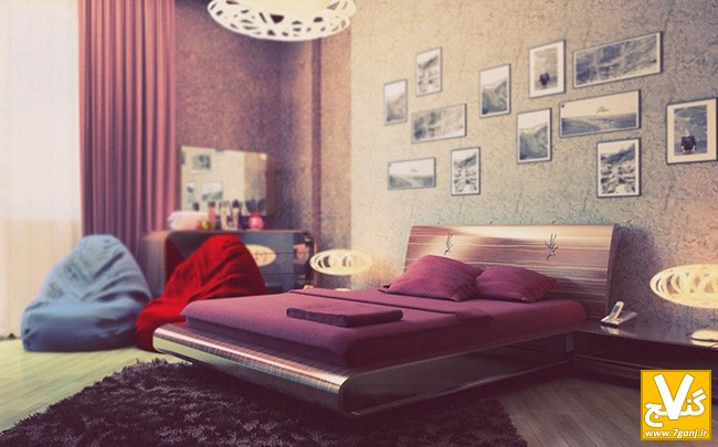 amazing-master-bedrooms-designs-accompanied-with-contemporary-bed-frame-and-furry-rug-plus-purple-bed-cushions-and-long-purple-curtains-with-bean-bags-915x570