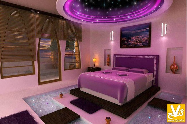 luxury-bedroom-ideas-with-purple-interiors-completed-with-corner-table-lamp-and-gorgeous-wall-lamps-with-lovely-ceiling-design