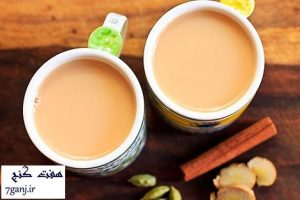 چاي شير با زردچوبه، ميخك، دارچين و زنجبيل