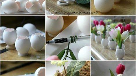 ساخت گلدان هاي زيبا با پوست تخم مرغ