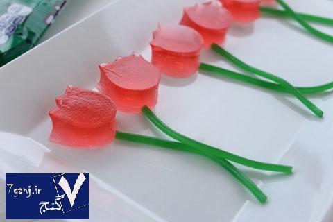 تزيين ژله به شكل گل