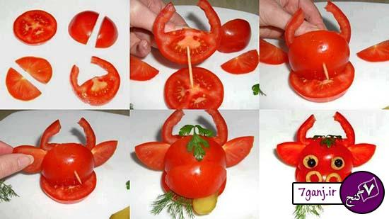آموزش تزيين گوجه به شكل گاو