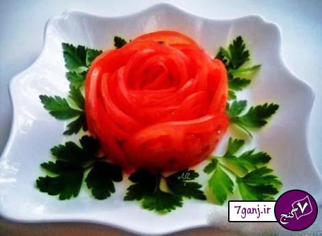 مدل تزيين گوجه و خيار براي تزيين سالاد