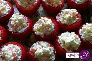سالاد سيب زميني در گوجه فرنگي