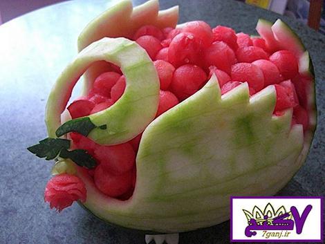 تزیین هندوانه به شکل قو