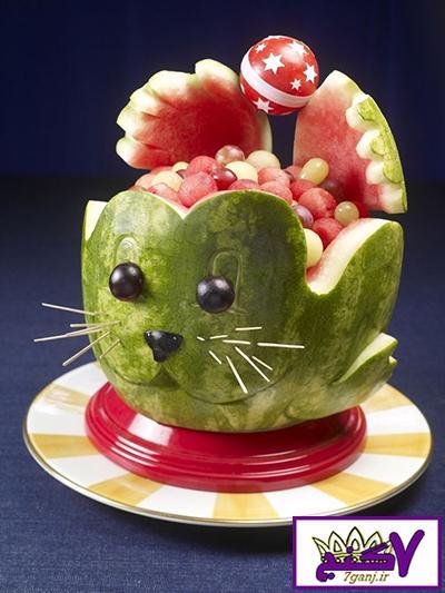 تزیین هندوانه به شکل گربه