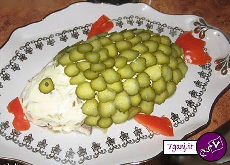 تزيين سالاد الويه به شكل ماهي