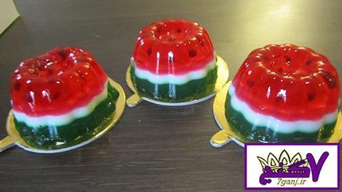 تزیین ژله به شکل هندوانه برای شب یلدا