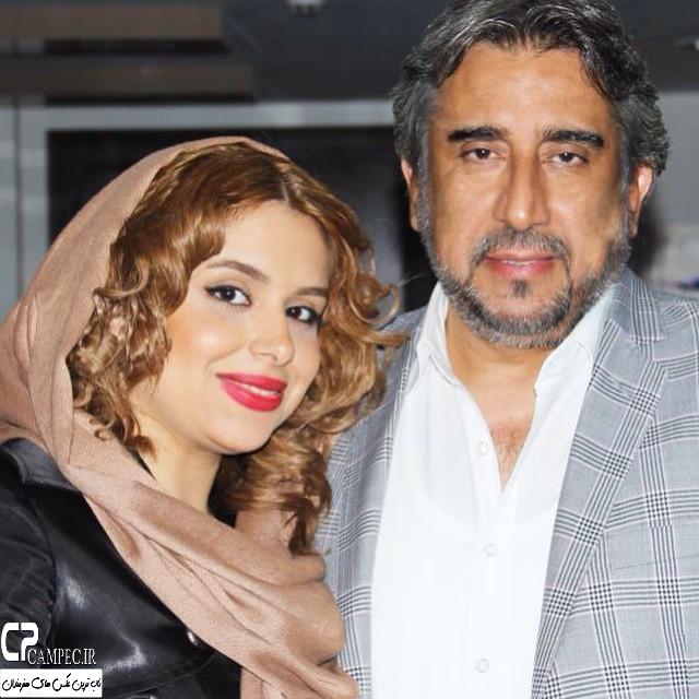 محمود دینی به همراه دخترش