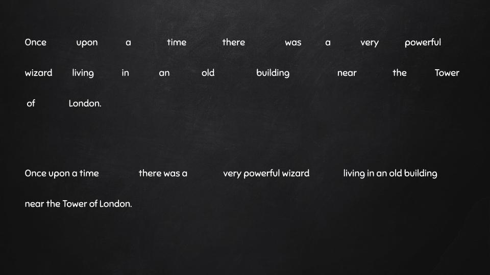 یک گروه از کلمات را برای تندخوانی در نظر بگیرید