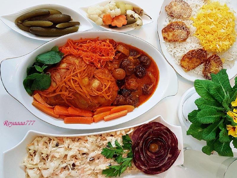 طرز تهیه خورشت هویج و آلو با سالاد کلم خوشمزه لذیذ