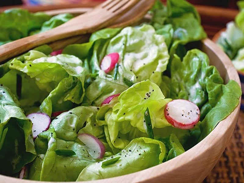 طرز تهیه سالاد ساده و خوشمزه سبز با سس فرانسوی خوشمزه