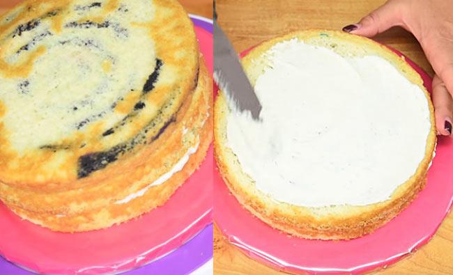 طرز تهیه کیک پلنگی رنگین کمانی