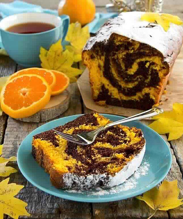 طرز تهیه کیک ماربل پرتقالی-شکلاتی